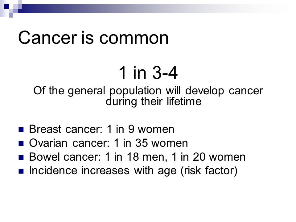 Of the general population will develop cancer during their lifetime