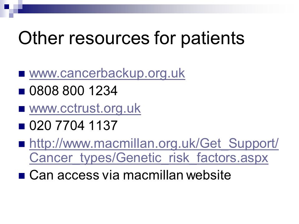 Other resources for patients