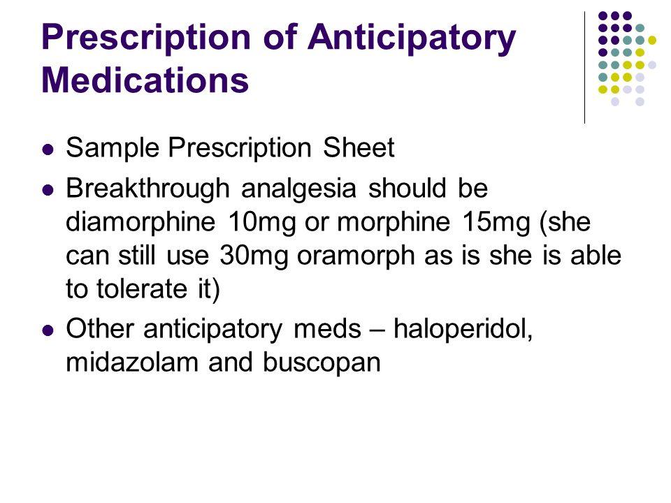 Prescription of Anticipatory Medications