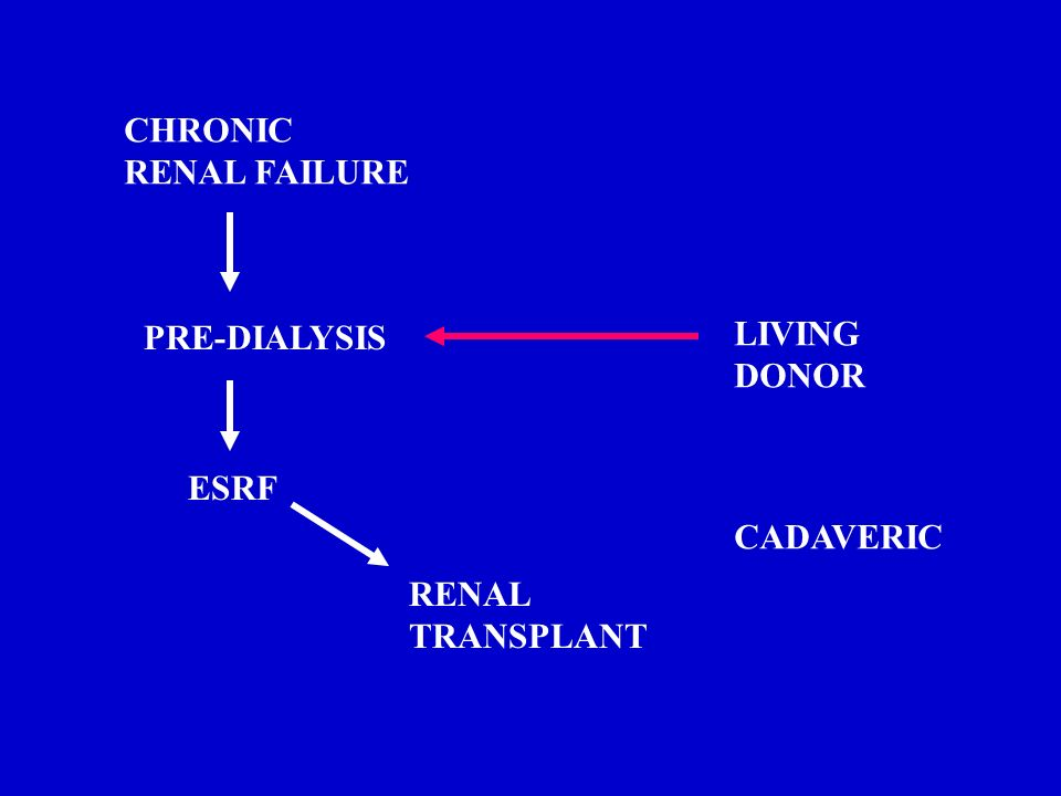 CHRONIC RENAL FAILURE PRE-DIALYSIS LIVING DONOR ESRF CADAVERIC RENAL TRANSPLANT