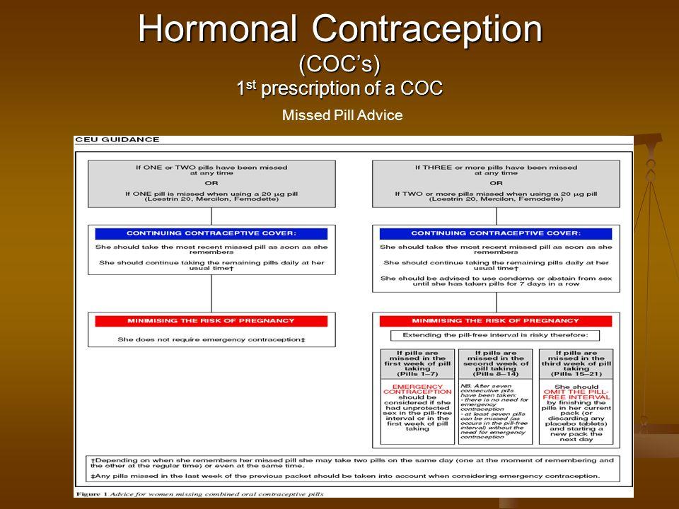 Hormonal Contraception (COC's) 1st prescription of a COC