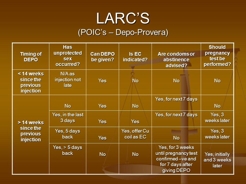 LARC'S (POIC's – Depo-Provera)