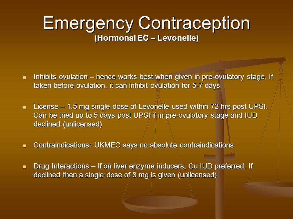 Emergency Contraception (Hormonal EC – Levonelle)