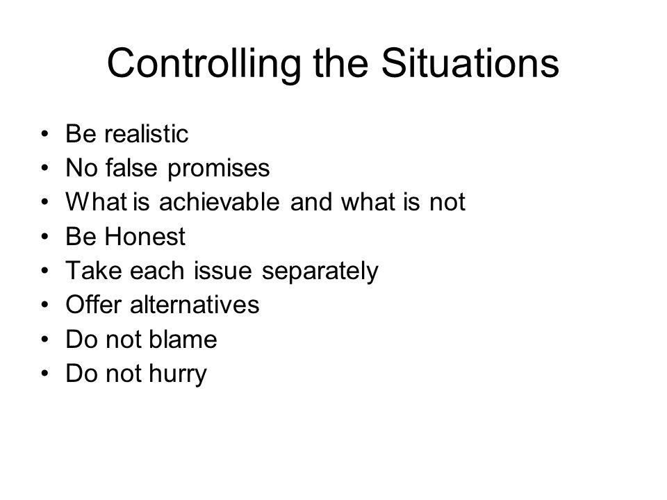 Controlling the Situations