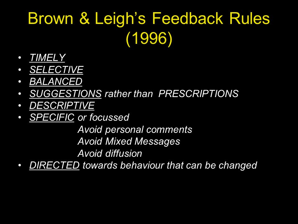 Brown & Leigh's Feedback Rules (1996)