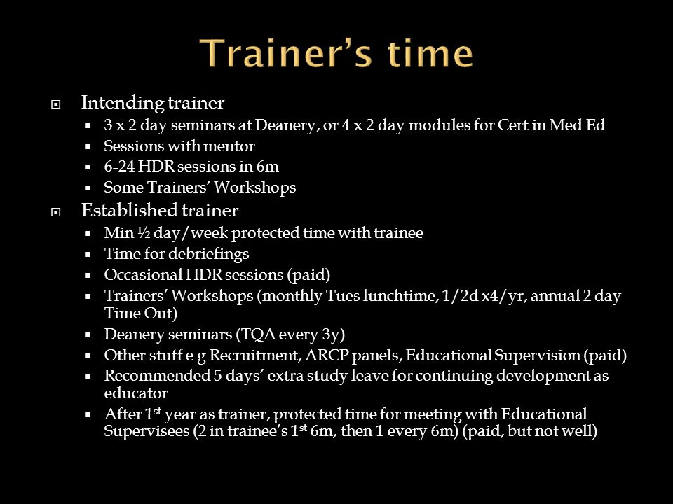 Trainer's time Intending trainer Established trainer