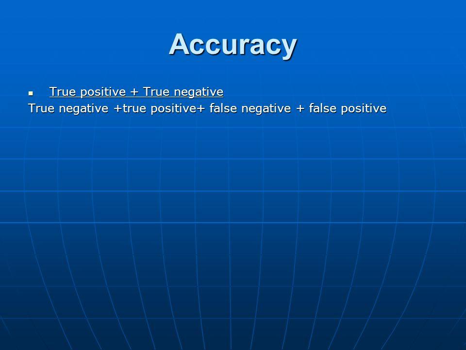 Accuracy True positive + True negative