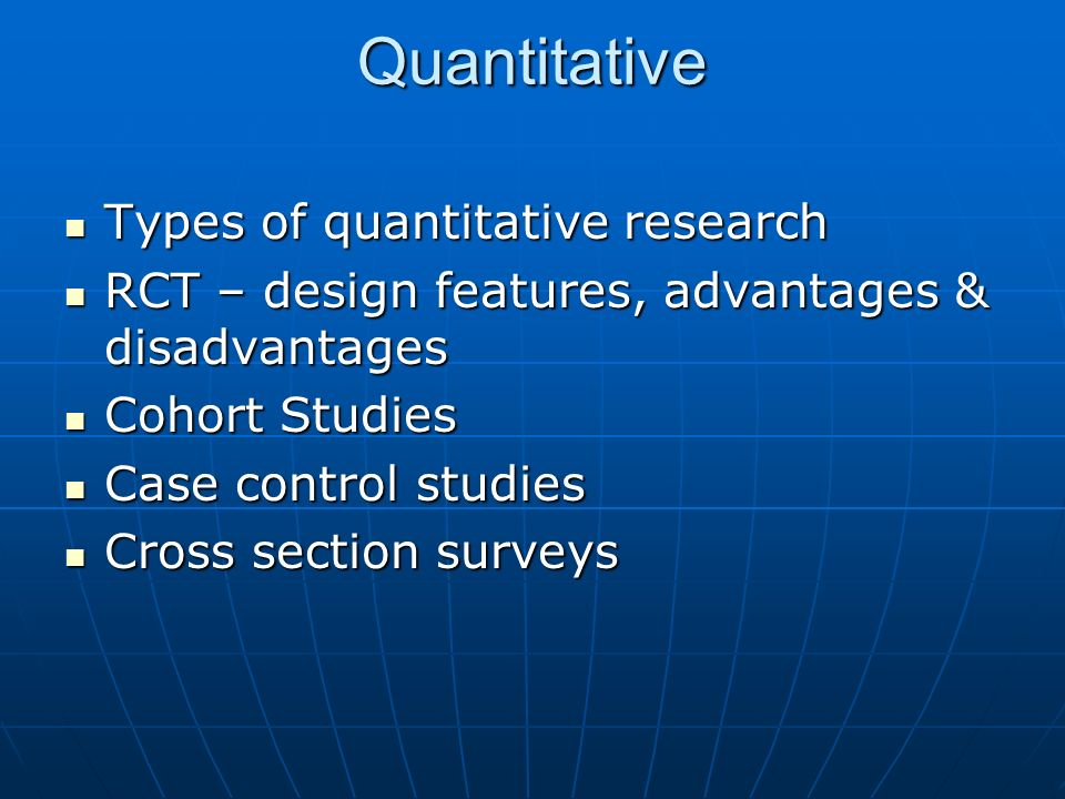 Quantitative Types of quantitative research