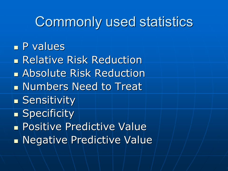 Commonly used statistics