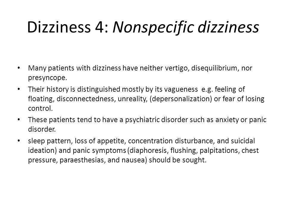 Dizziness 4: Nonspecific dizziness
