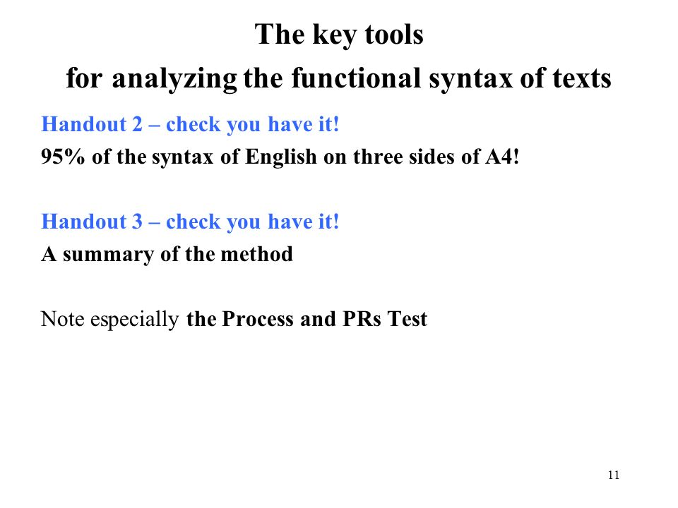 for analyzing the functional syntax of texts