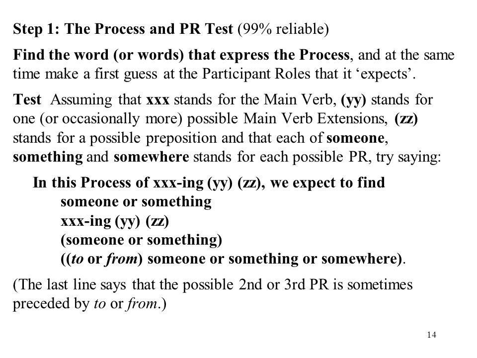 Step 1: The Process and PR Test (99% reliable) Find the word (or words) that express the Process, and at the same time make a first guess at the Participant Roles that it 'expects'.