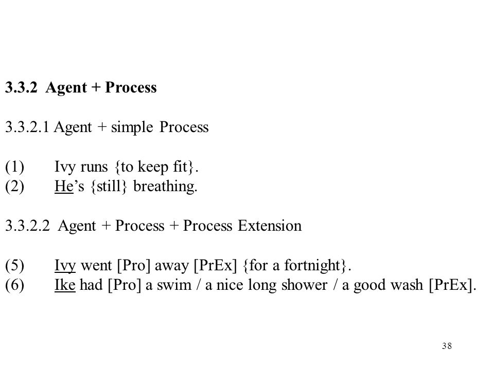 3.3.2 Agent + Process 3.3.2.1 Agent + simple Process. (1) Ivy runs {to keep fit}. (2) He's {still} breathing.