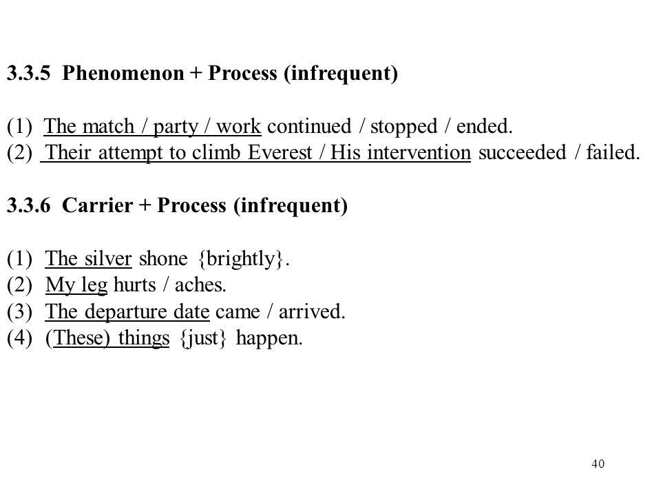 3.3.5 Phenomenon + Process (infrequent)