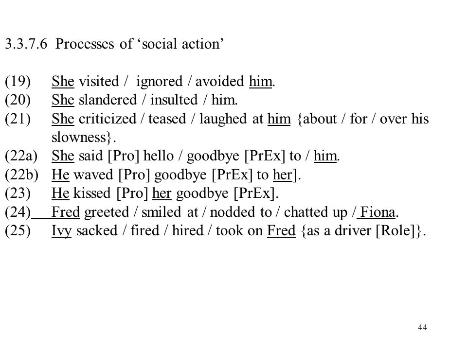 Processes of 'social action'