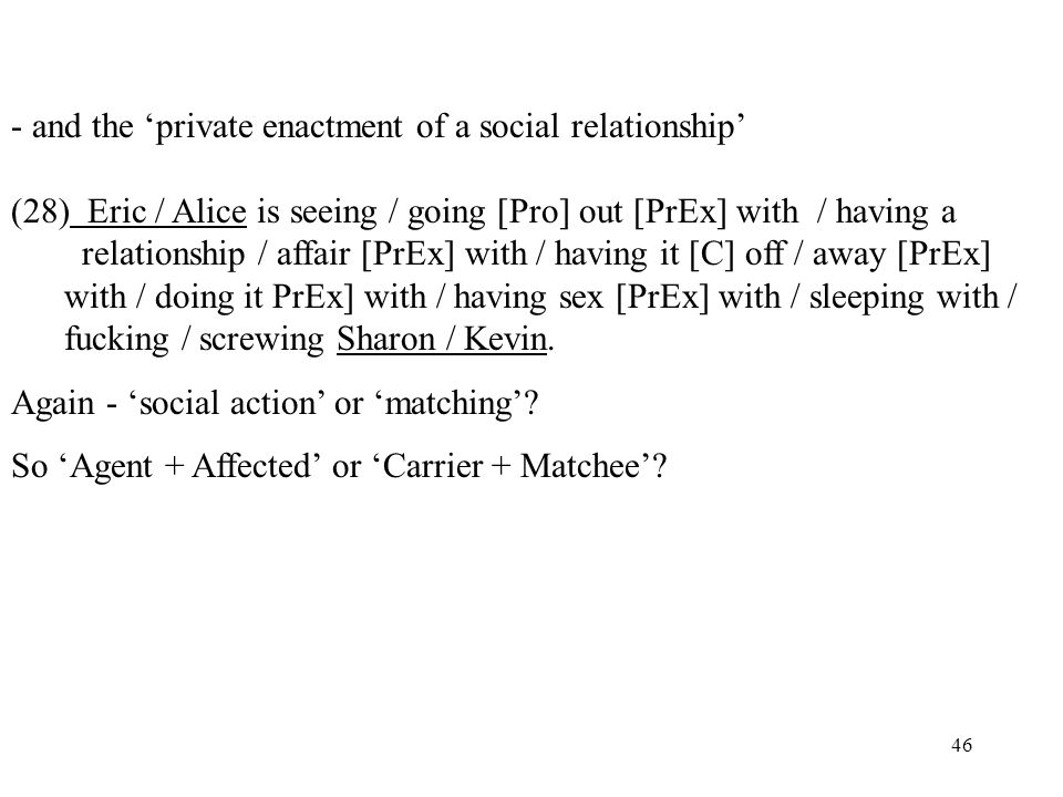 - and the 'private enactment of a social relationship'