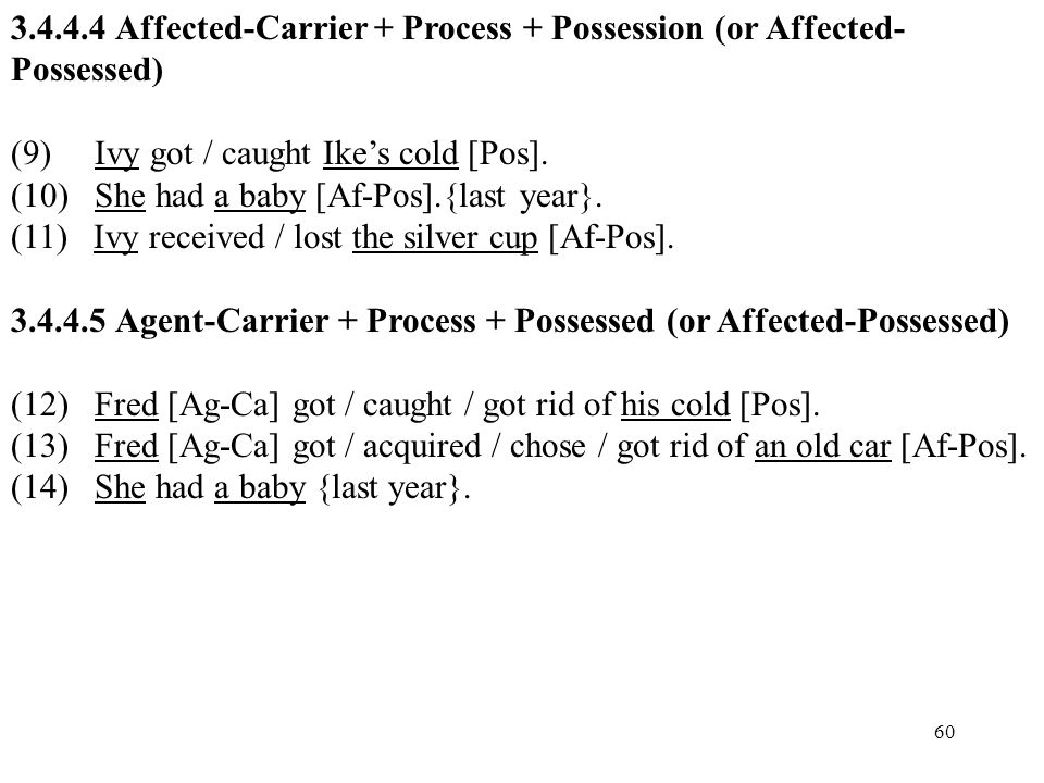 Affected-Carrier + Process + Possession (or Affected-Possessed)