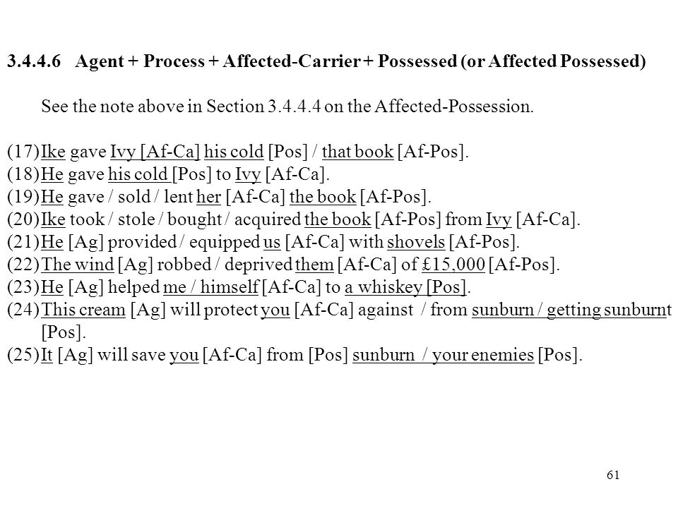 Agent + Process + Affected-Carrier + Possessed (or Affected Possessed)