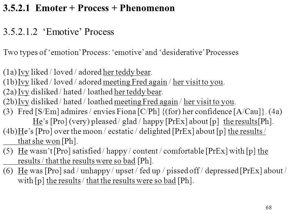 3.5.2.1 Emoter + Process + Phenomenon 3.5.2.1.2 'Emotive' Process