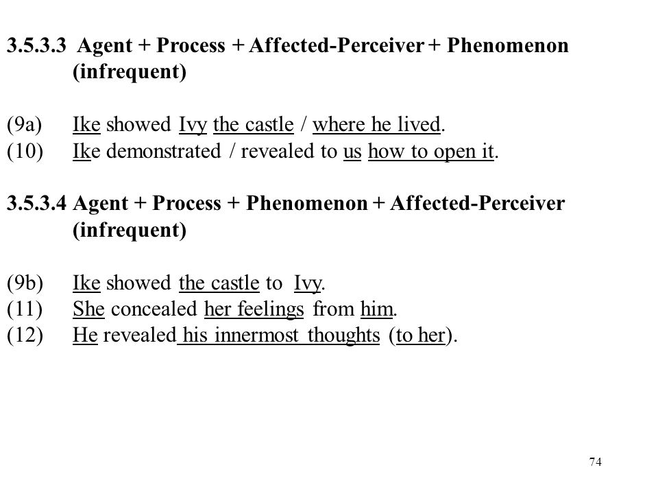 Agent + Process + Affected-Perceiver + Phenomenon (infrequent)
