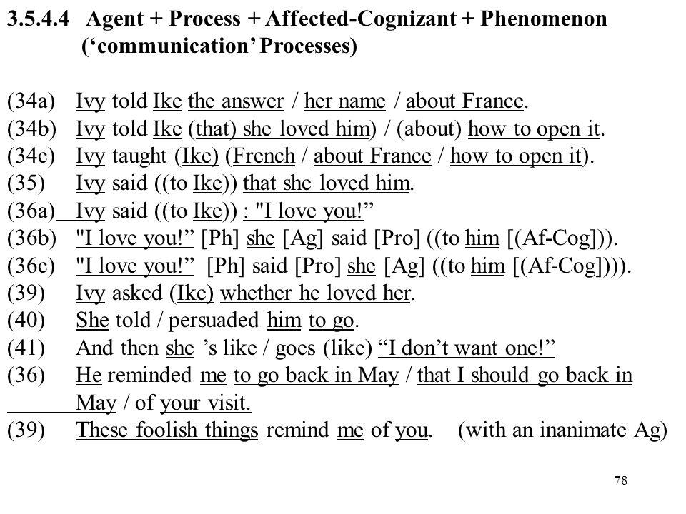 3.5.4.4 Agent + Process + Affected-Cognizant + Phenomenon