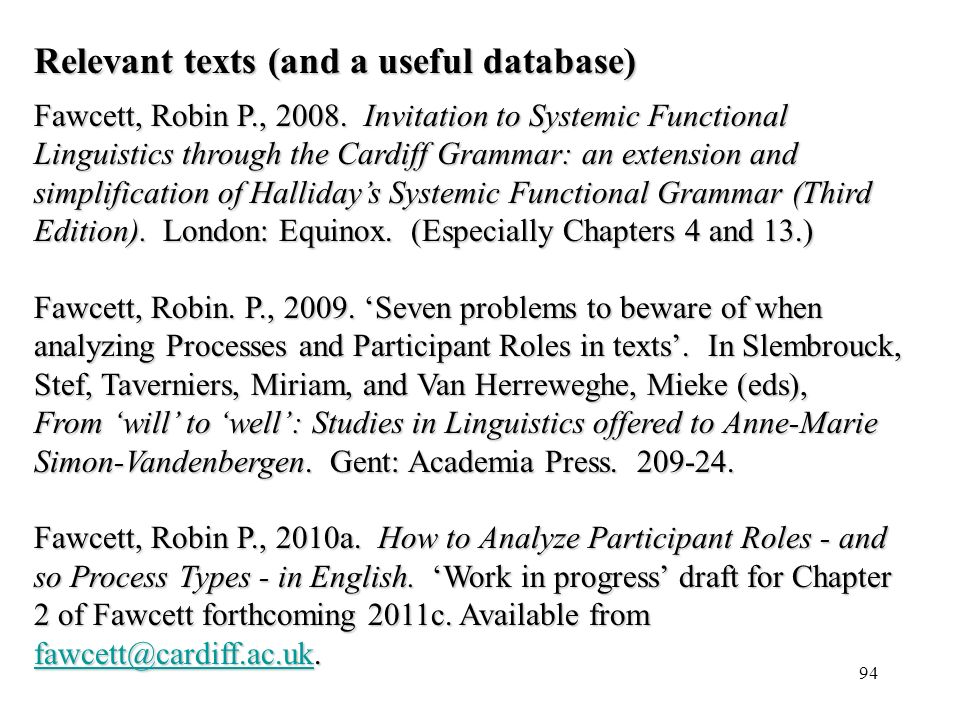 Relevant texts (and a useful database)