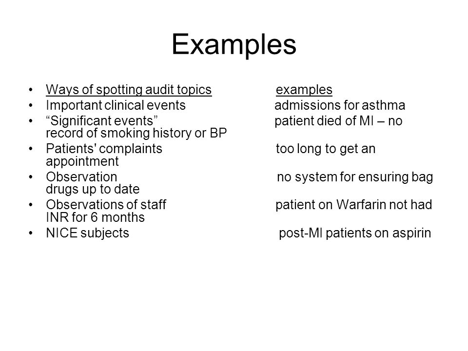 Examples Ways of spotting audit topics examples