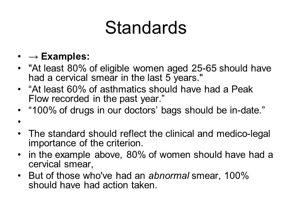 Standards → Examples: At least 80% of eligible women aged 25-65 should have had a cervical smear in the last 5 years.