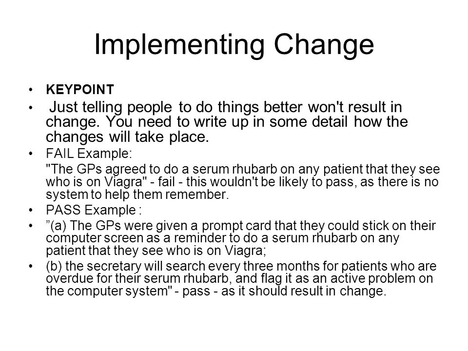 Implementing Change KEYPOINT