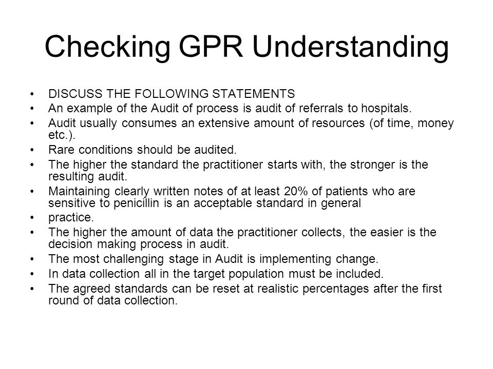 Checking GPR Understanding