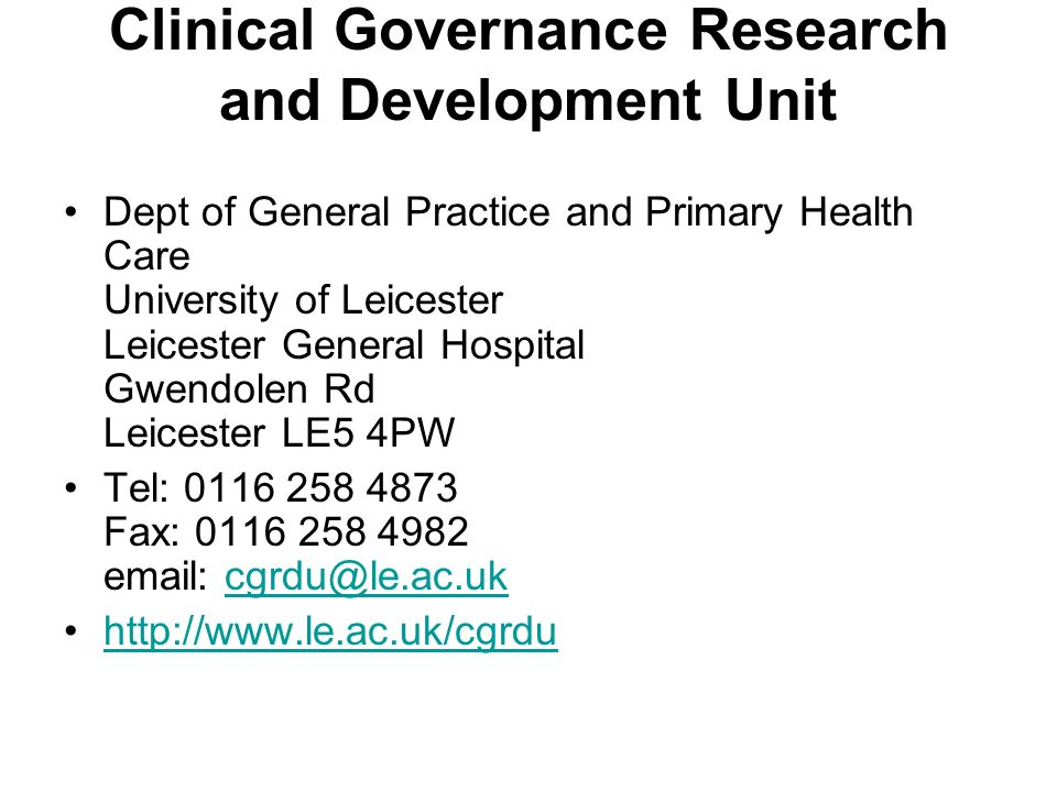 Clinical Governance Research and Development Unit