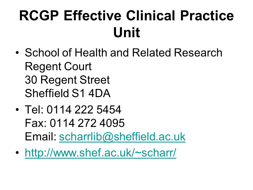 RCGP Effective Clinical Practice Unit