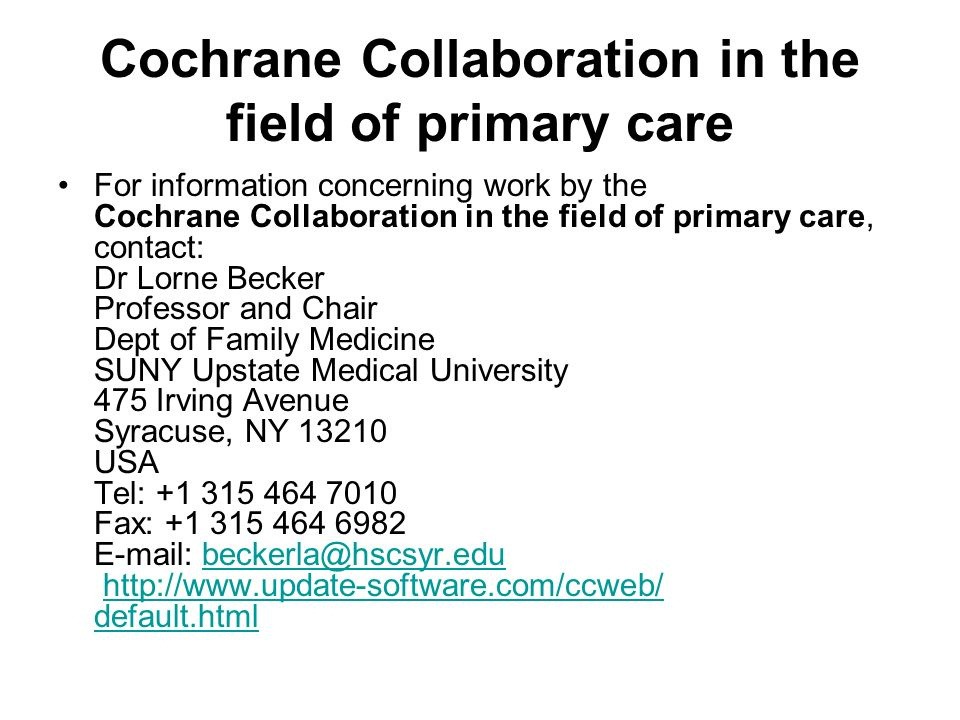 Cochrane Collaboration in the field of primary care