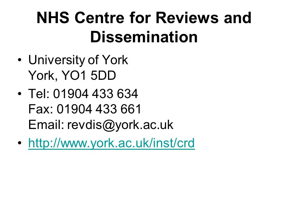 NHS Centre for Reviews and Dissemination