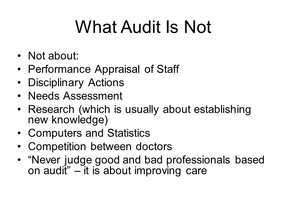 What Audit Is Not Not about: Performance Appraisal of Staff