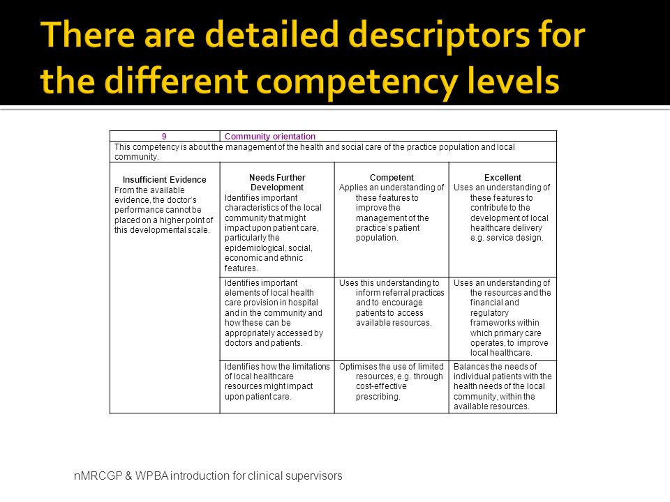 There are detailed descriptors for the different competency levels