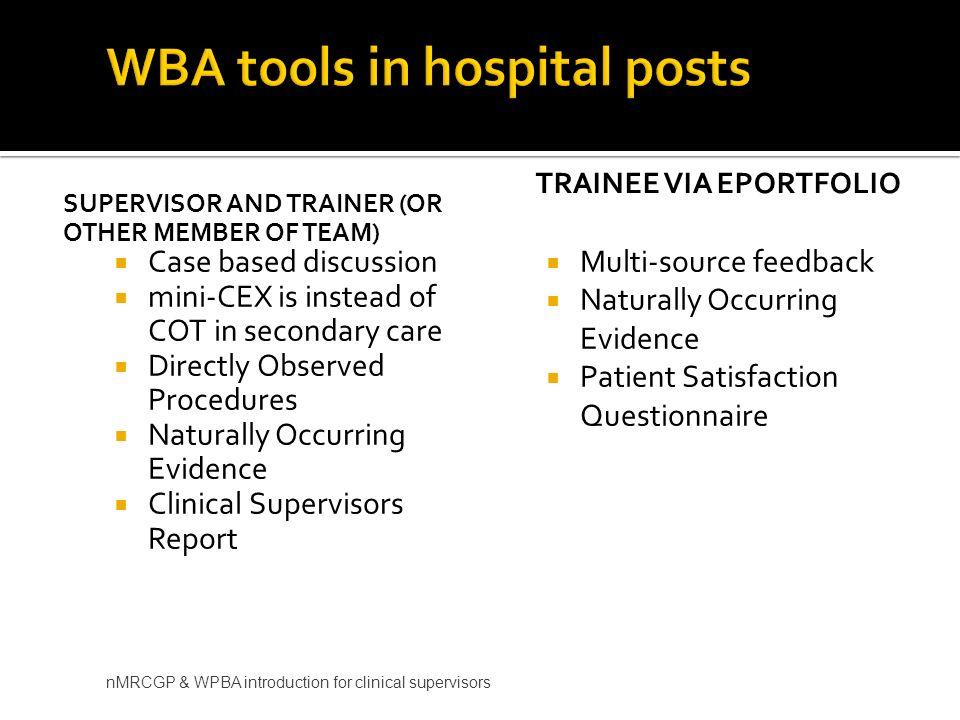WBA tools in hospital posts