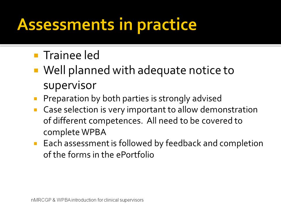 Assessments in practice
