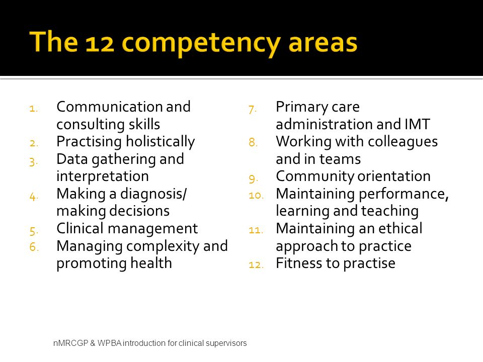 The 12 competency areas Communication and consulting skills