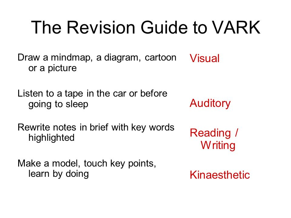 The Revision Guide to VARK