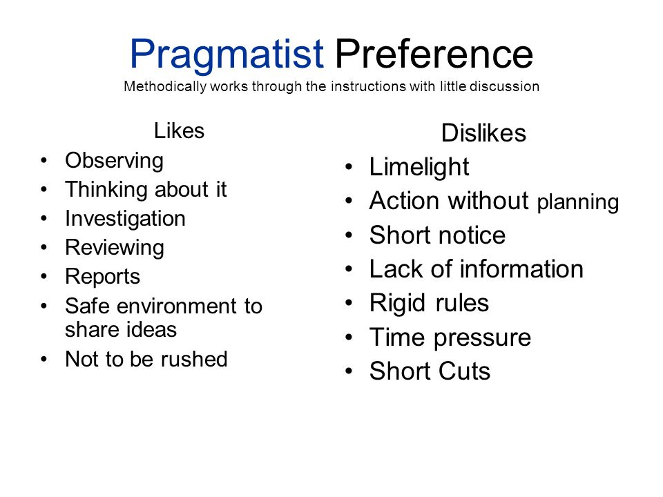 Pragmatist Preference Methodically works through the instructions with little discussion
