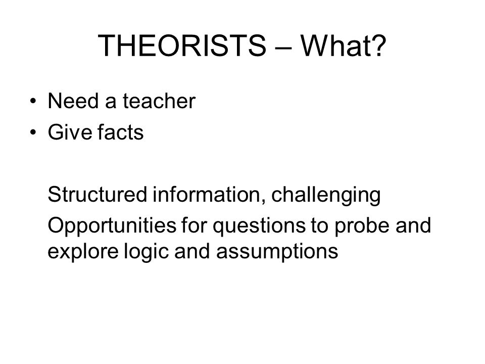 THEORISTS – What Need a teacher Give facts