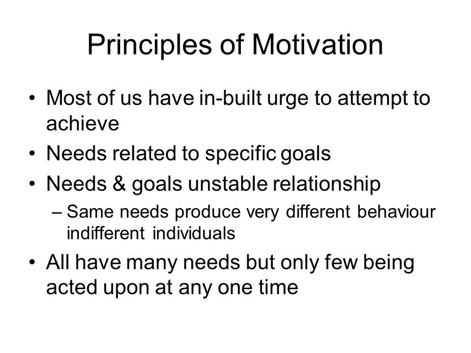 Principles of Motivation