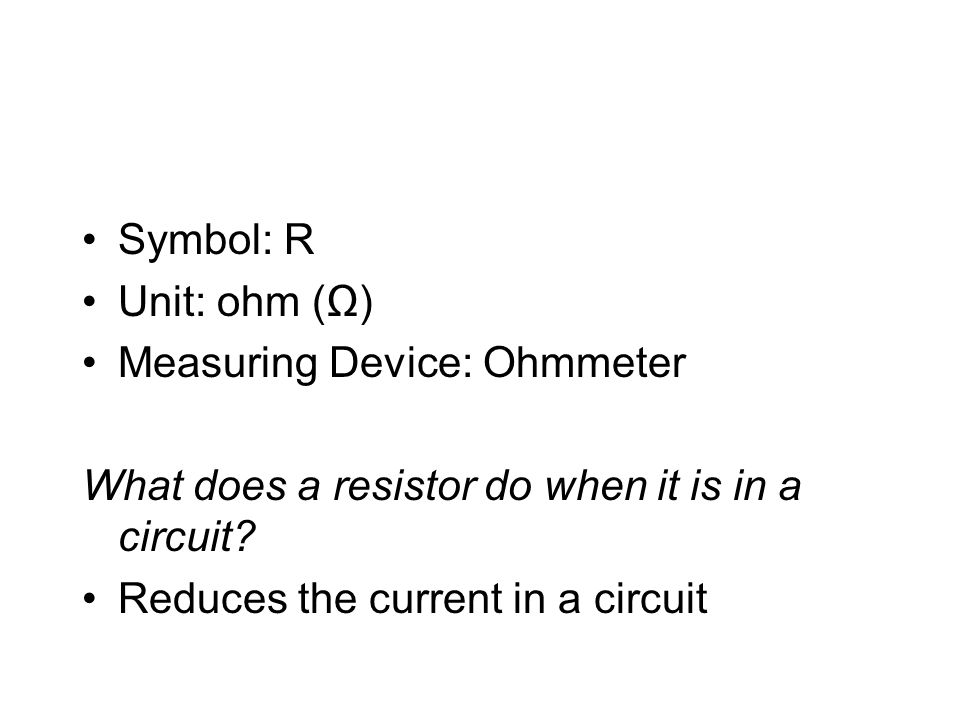 Ohmmeter Circuit Symbol : Resistance ppt video online download