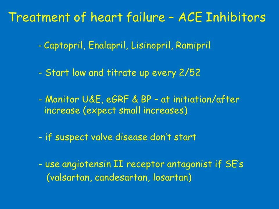 Treatment of heart failure – ACE Inhibitors