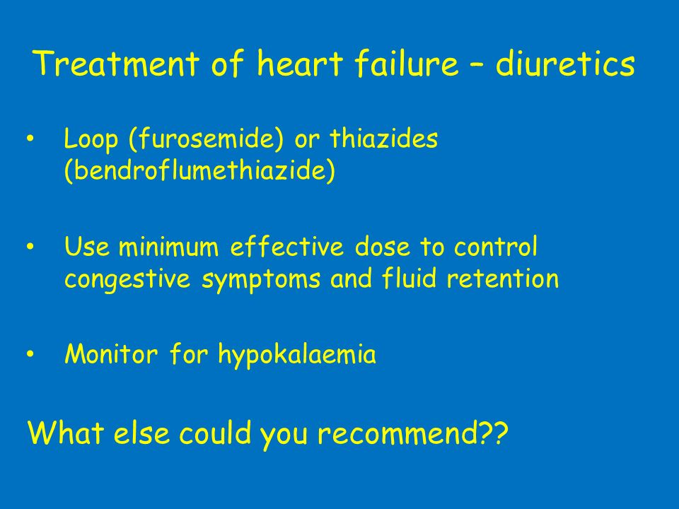 Treatment of heart failure – diuretics