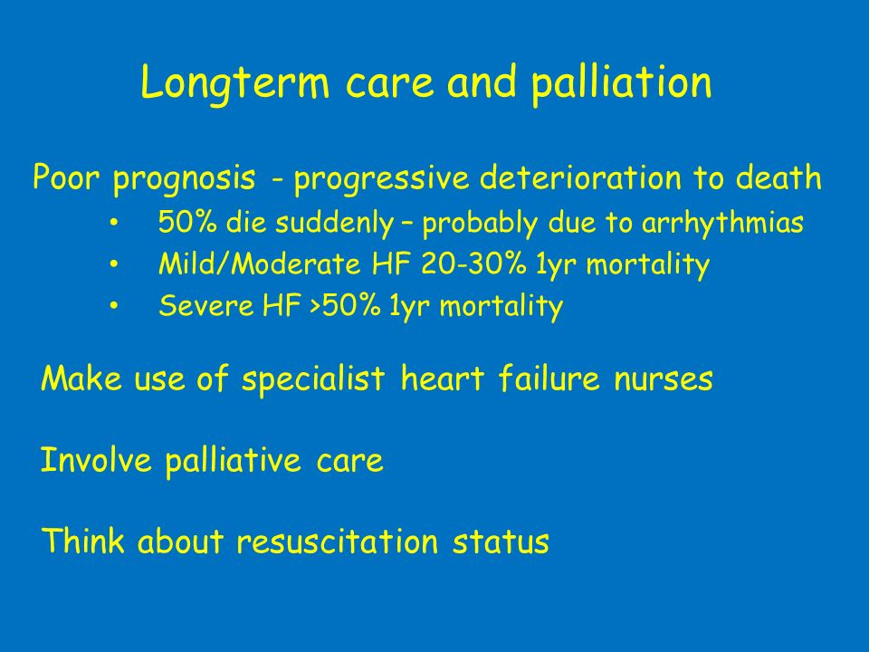 Longterm care and palliation