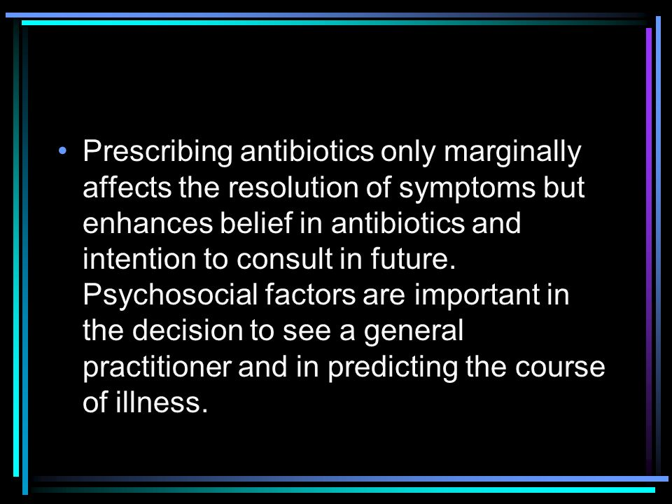 Prescribing antibiotics only marginally affects the resolution of symptoms but enhances belief in antibiotics and intention to consult in future.