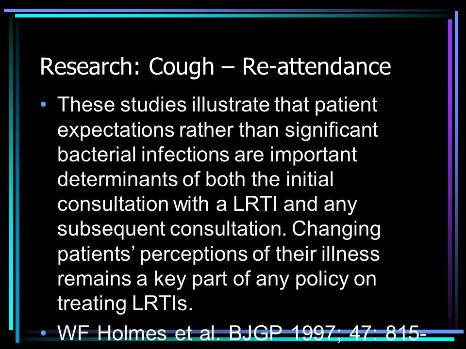 Research: Cough – Re-attendance