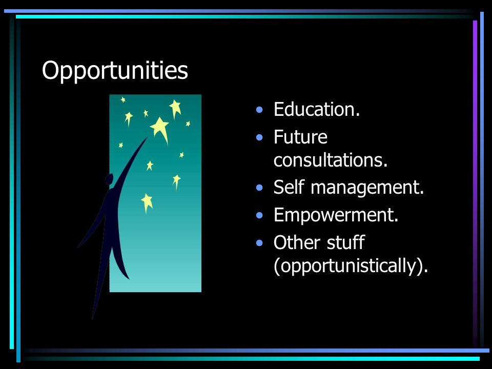 Opportunities Education. Future consultations. Self management.